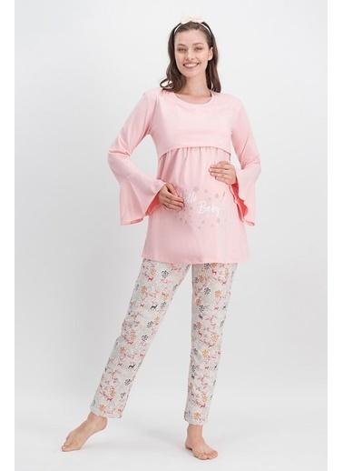 Arnetta Arnetta Hello Baby İnci Pembe Kadın Lohusa Pijama Takımı Pembe
